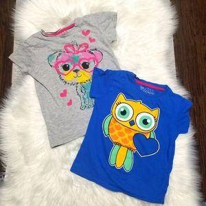 Baby Doll   2 Short Sleeve Tees Gray Dog Blue Owl